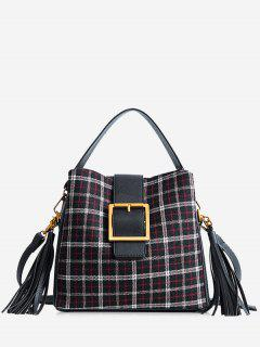 Buckled Plaid Handbag With Tassel - Black