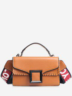 Whipstitch Flap Crossbody Bag With Handle - Brown