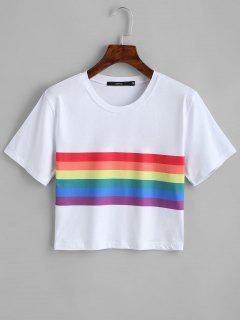Rainbow Striped Crop Tee - White L