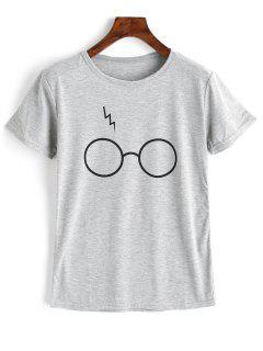 Cute Glasses Graphic T Shirt - Gray 2xl