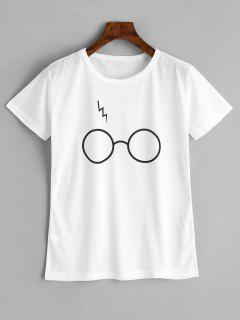 Cute Glasses Graphic T Shirt - White L