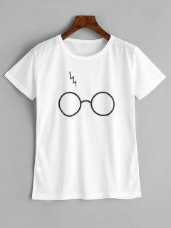 T-shirt Graphique De Lunettes Mignon - Blanc M