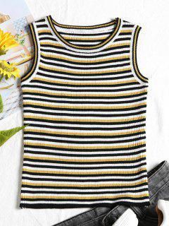 Ribbed Stripes Tank Top - Black
