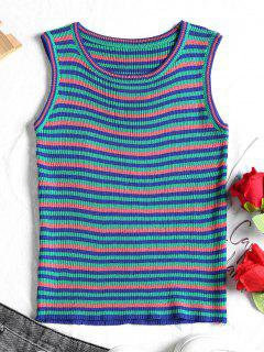 Ribbed Stripes Tank Top - Pink