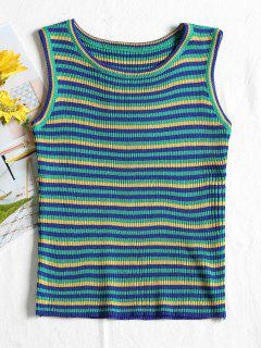 Ribbed Stripes Tank Top - Green