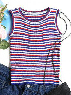Ribbed Stripes Tank Top - Blue