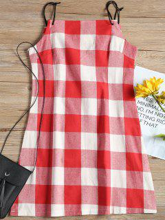 Spaghetti Straps Plaid Mini Dress - Checked L