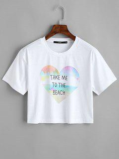 Heart Letter Print Crop Tee - White S