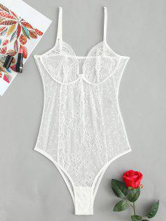 See Through Lace Lingerie Bodysuit - White L