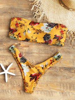 Strapless Floral High Cut Bikini Set - Mustard M