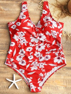 One Piece Crossover Floral Plus Size Swimsuit - Red Xl