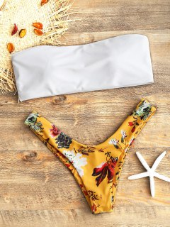 Bandeau Top Y Floral High Cut Swim Bottoms - Blanco S