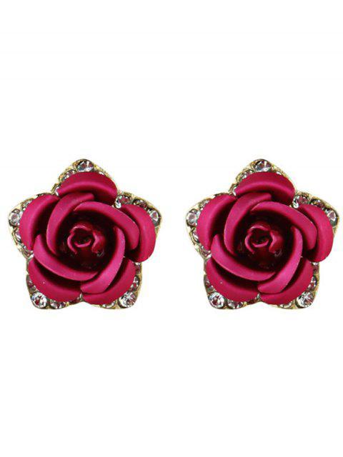 Горный Хрусталь Цветок Stud Серьги - Розово-красный  Mobile