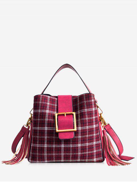 Bolso de tela escocesa abrochado con borla - Rojo  Mobile