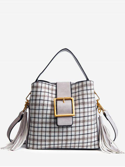 womens Buckled Plaid Handbag with Tassel - GRAY  Mobile