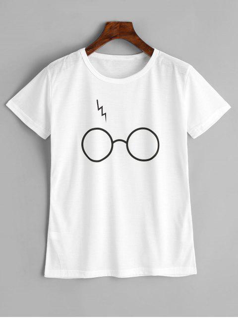 Camiseta linda de los gráficos de los vidrios - Blanco S Mobile