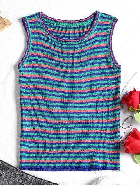 Camiseta sin mangas con rayas acanaladas - Rosado Talla única Mobile