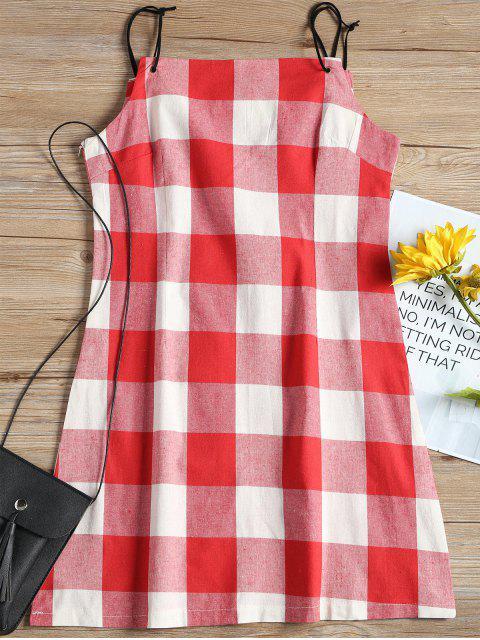 outfit Spaghetti Straps Plaid Mini Dress - CHECKED L Mobile