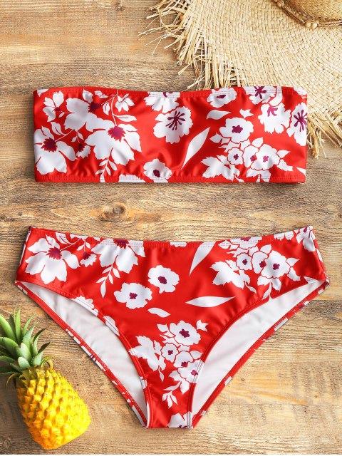 Conjunto de bikini adornado con estampado floral y talla grande - Rojo XL Mobile