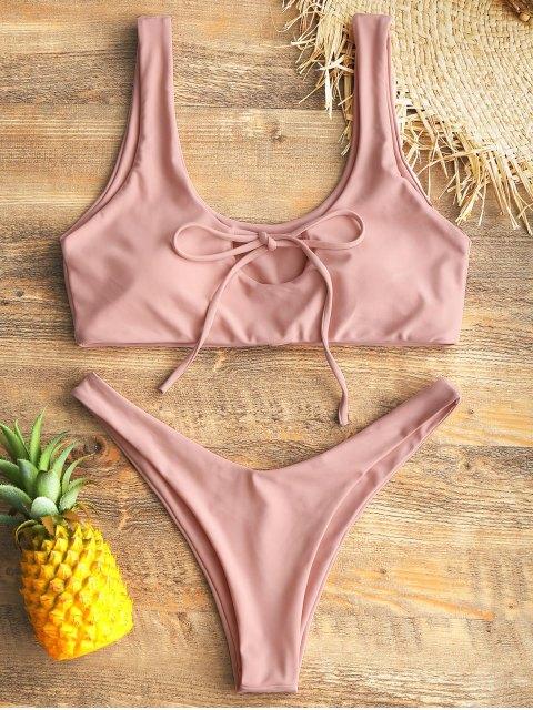 womens Keyhole Tied High Cut Thong Bikini Set - SHALLOW PINK L Mobile