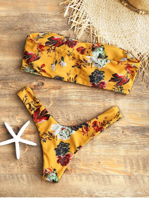 outfit Strapless Floral High Cut Bikini Set - MUSTARD L Mobile