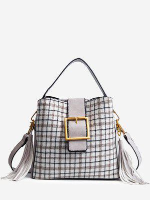 Geschnürte Plaid Handtasche mit Quaste