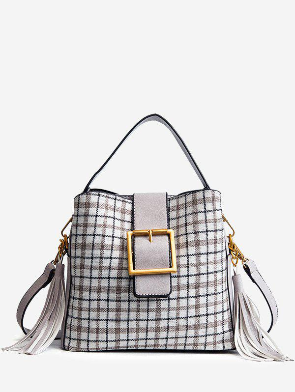 Buckled Plaid Handbag with Tassel 255677003