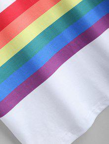 Estampado L Con De Rainbow Blanco Rayas Camiseta FY5fnx1vv