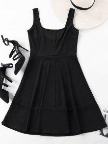 Cuello Negro Sin Vestido Mini Cuadrado Mangas De L wSzwvpxP