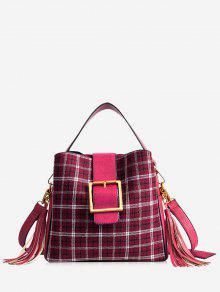 حقيبة يد منقوشة مع شرابة - أحمر