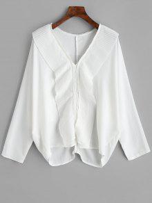 Gasa Volantes Con L Plisados Blusa Blanco y IFpnw54qC