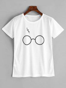 تيشيرت قطني مزين بغرافيك نظارات - أبيض M