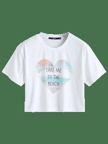 243;n De Estampado Letras Estampada Camiseta Con Coraz Del L Blanco q0w676C