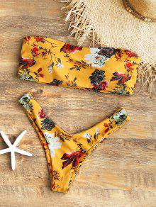 بدلة بيكيني طباعة الأزهار بلا شريط عالية القطع - خردل L