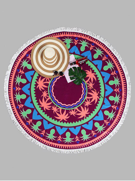 fancy Tassel Tropical Plant Round Beach Towel - PURPLISH RED ONE SIZE