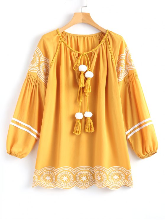 women's Long Sleeve Embroidered Tassel Mini Dress - GINGER S
