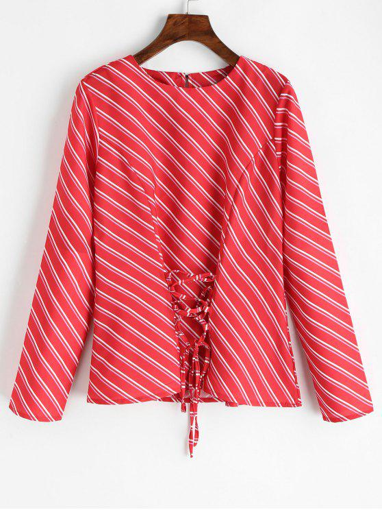 new Lace Up Oblique Stripes Blouse - RED L
