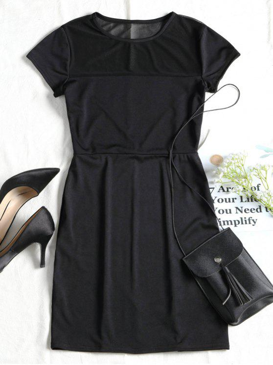 new Mesh Panel Fitted Mini Dress - BLACK M