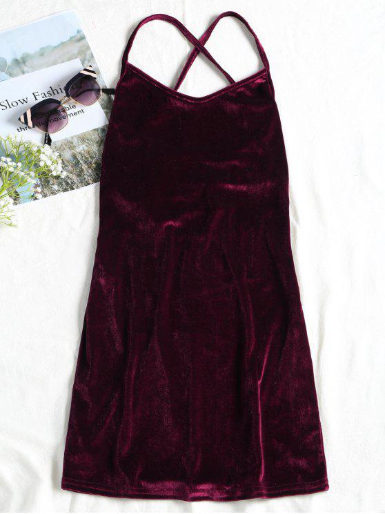 ladies Backless Lace Up Velvet Cami Mini Dress - WINE RED L