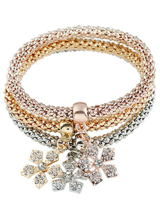 Ensemble de Bracelets en Métal Motif Flocons de Neige Chaîne et Diamant Fantaisie - Multicolore