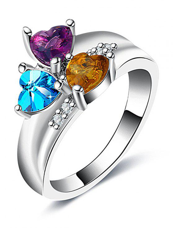 Anello di design a forma di cuore con strass di San Valentino - Argento 7