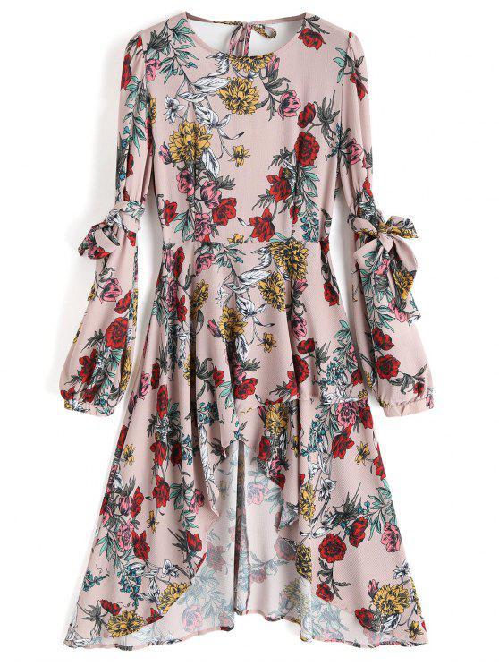 فستان ميدي غير متماثل مفتوحة الظهر طباعة الأزهار - الأزهار S