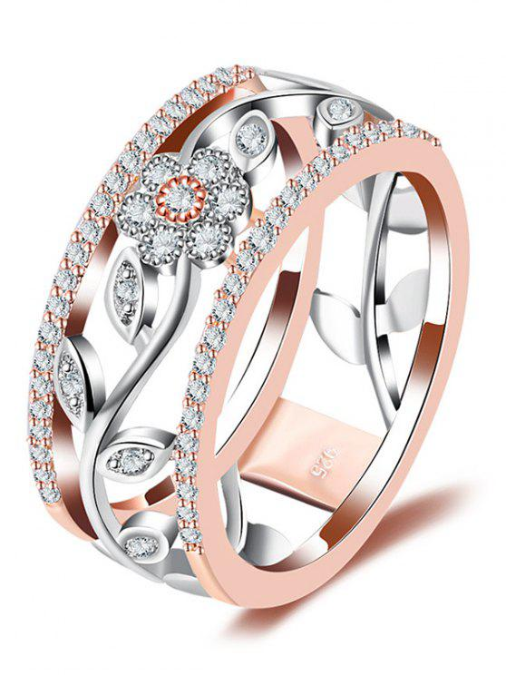 shop Faux Diamond Wreath Hollow Out Design Ring - ROSE GOLD 8