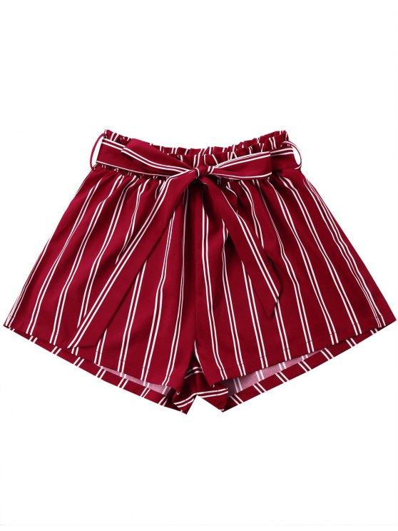 fancy Striped Wide Leg Shorts with Tie Belt - WINE RED XL
