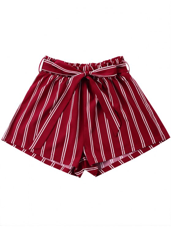 unique Striped Wide Leg Shorts with Tie Belt - WINE RED 2XL
