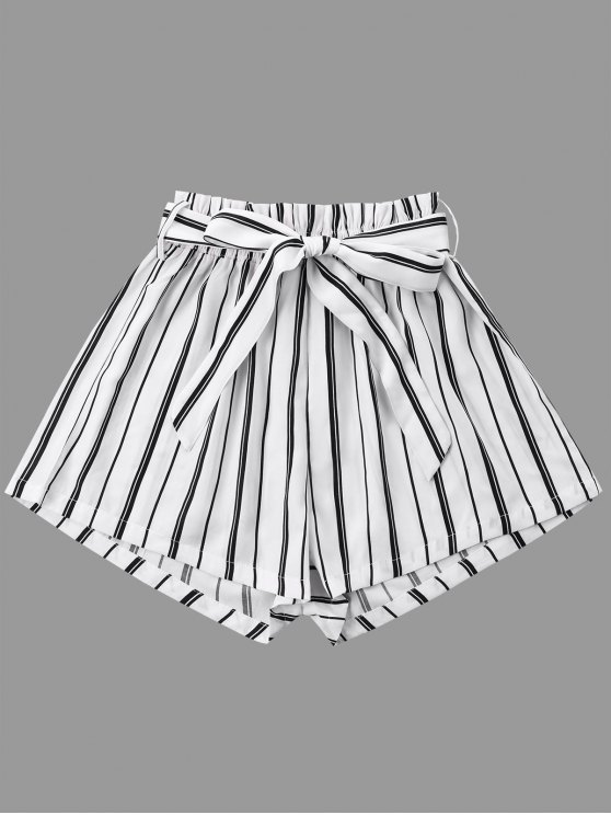 affordable Striped Wide Leg Shorts with Tie Belt - WHITE M