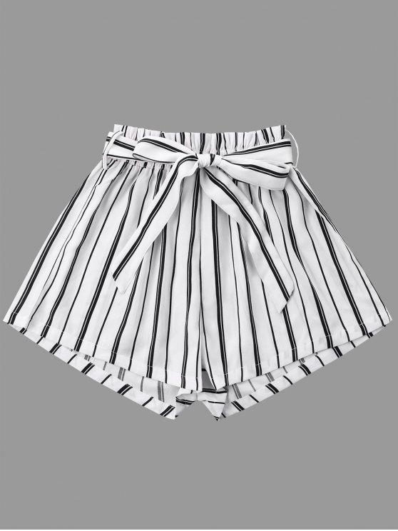 Pantalones cortos de pierna ancha a rayas con cinturón de corbata - Blanco M