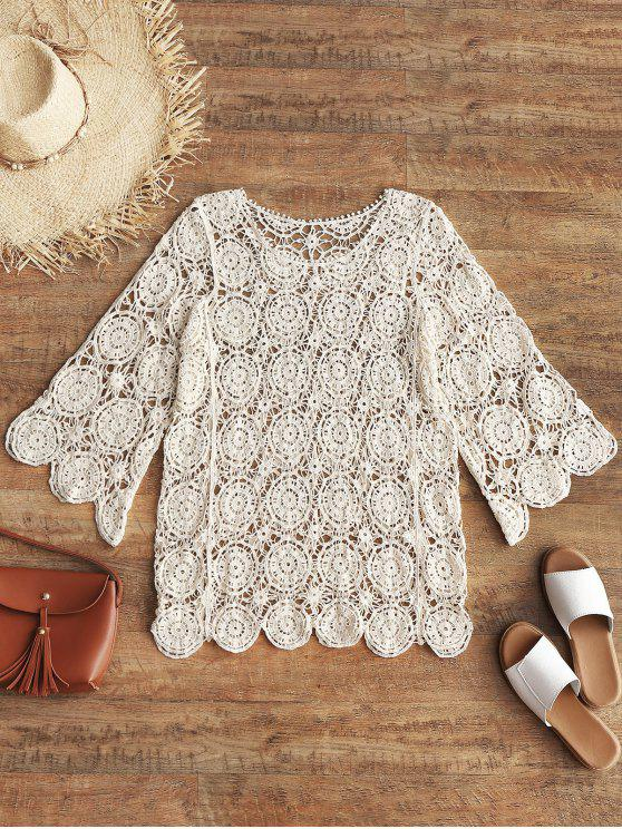 best Openwork Crochet Top - BEIGE ONE SIZE