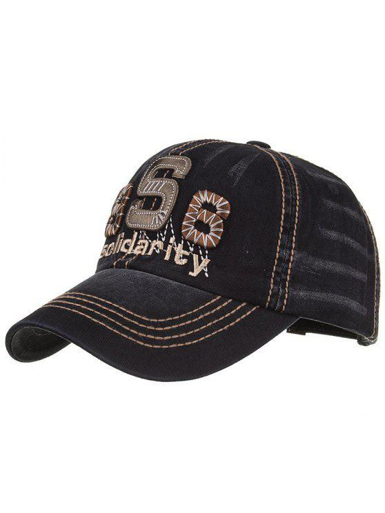 lady Unique Solidarity Embroidery Adjustable Baseball Hat - BLACK