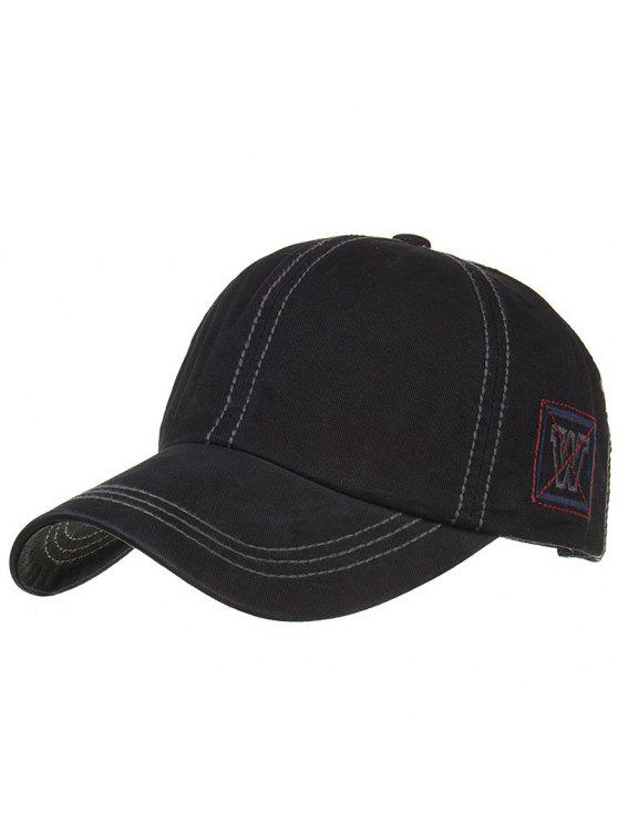 online Unique W Embroidery Adjustable Baseball Cap - BLACK